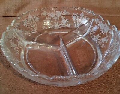 CHEROKEE ROSE By Tiffin DIVIDED RELISH DISH Bowl ELEGANT GLASS ETCHED UNUSED