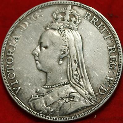 1891 Great Britain Crown Silver Foreign Coin Free S/H