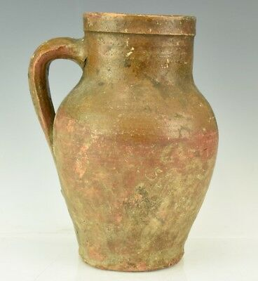 Antique American Hand Crafted Stoneware Art Pottery Museum Quality Pitcher Jug