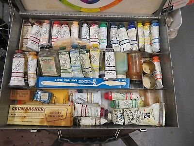 28 Grumbacher pre-tested professional oil colors Tubes & supplies + case