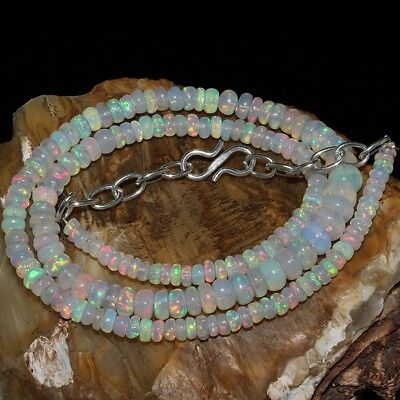 54 Ct Natural Ethiopian Welo Fire Opal Smooth Rondelle Plain Beads Necklace #413