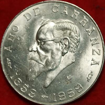 Uncirculated 1959 Mexico 5 Pesos Silver Foreign Coin Free S/H!