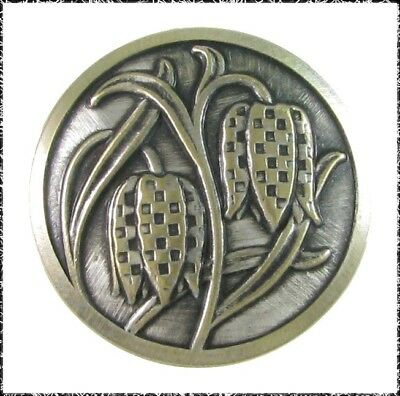 Vintage Metal Checkered Lily Button
