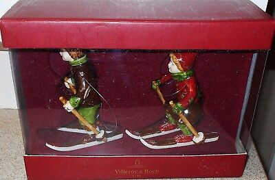 "Nib Villeroy & Boch ""winter Joy""  Children Skiing Figurine Ornaments 2"