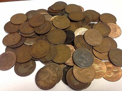 100 x Vintage British Large One Penny, UK copper Pennies Victoria to QEII lot#48