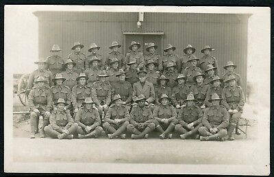 WWI Australian Army Forces Battalion Real Group Photo Postcard #4