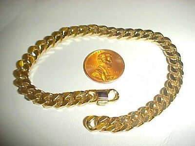 "VINTAGE GOLD FLAT CUT THICK CURB 6mm. WIDE 8.25"" CHAIN BRACELET W774"