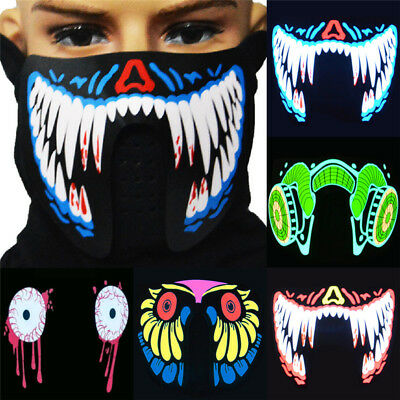 LED Luminous Flashing Face Mask Party Masks Light Up Dance Halloween Cosplay Pop