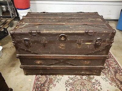 19th Century Late 1800's LARGE STEAMER TRUNK Leather Metal Wood Storage