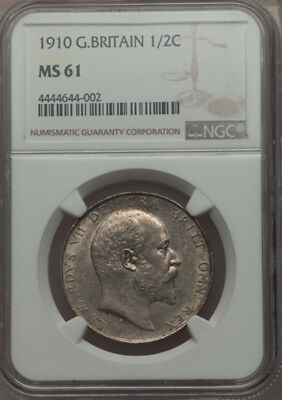 Great Britain Edward Vii 1910 Half-Crown, Uncirculated Certified Ngc Ms61