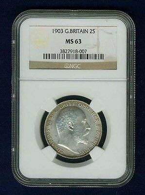 Great Britain Edward Vii  1903 Florin, Choice Uncirculated, Certified Ngc Ms63