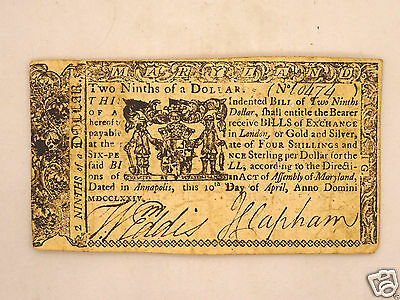 Fine 241 yr old COLONIAL CURRENCY $2/9 Dollars, 1774 MARYLAND Scarce Note
