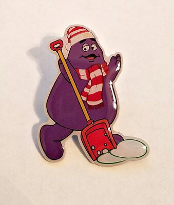 New McDonald's Lapel Pin Christmas Holiday Grimace Shoveling Snow