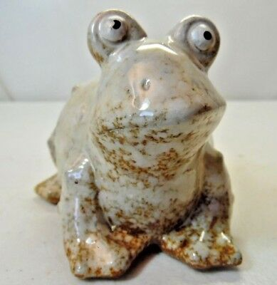 Whimsical White & Brown Embossed Frog Pottery Figurine