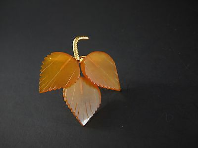 Vintage Russian Soviet 8PR Gold or Gold Plated Baltic Amber Leaf Pin
