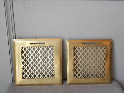 Pair of  FRENCH Vintage BRASS HEATING GRATES VENTS PLAQUES