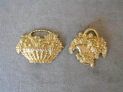 2 Antique french BRONZE Plaques basket w/ flowers CHIC