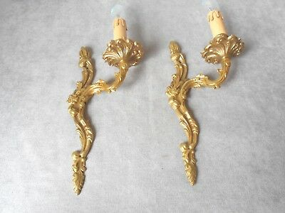 PAIR of Antique French solid brass  WALL Light SCONCES