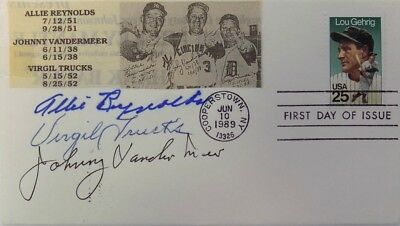 Johnny Vander Meer Allie Reynolds Virgil Trucks Signed First Day Cover
