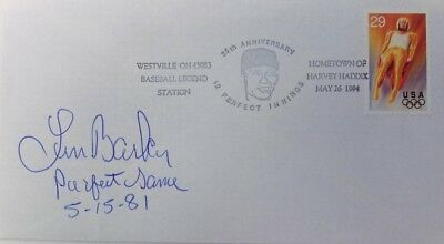 Len Barker Cleveland Indians Signed First Day Cover Perfect Game Insc.