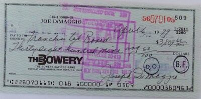 Joe Dimaggio Signed (full signature) Bank Check # 509 JSA Auction House LOA