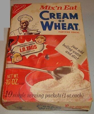 Vintage 1973 EMPTY BOX Nabisco Cream of Wheat Cereal advertising I. D. TAGS