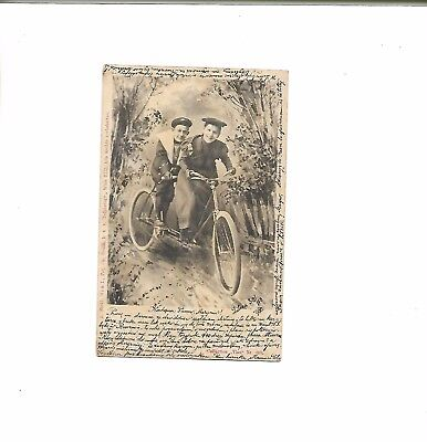 1900 Postcard of Two People on a Tandem Bicycle from Germany - Early card