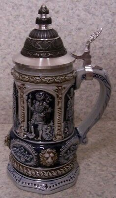 Beer Stein with lid Stoneware Charlemagne 0.5 Liter NEW Made in Germany boxed