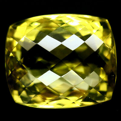 24.52 Ct Aaa! Natural! Lemon Yellow Quartz Cushion With Checkerboard Africa