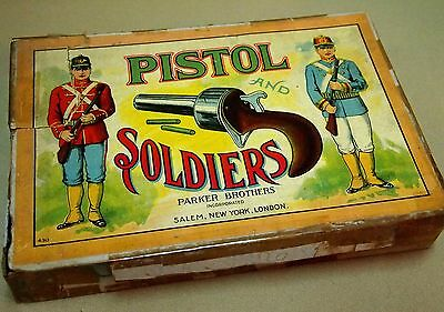 TIRO AL BLANCO, PISTOL AND SOLDIERS, SHOOTING GAME, PARKER AND BROTHERS, 1930s