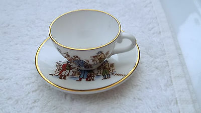Caverswall China Miniature Christmas Cup And Saucer For 1980  Carol Singing