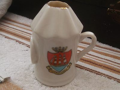 Vintage Model Of A Shaped Jug Flat Pad To Side Crested Morecambe By Crown Duchy