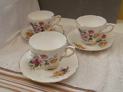 Three Royal Sutherland Cups And Saucers With A Rose Pattern