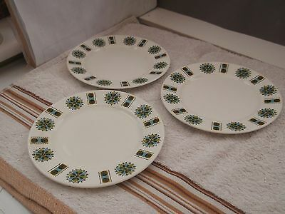 Three Retro Gainsborough Side Plates With Blue And Green Geometric Patterns
