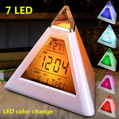 7 LED LCD Color Changing Digital Pyramid Alarm Clock Thermometer Light Desk Bed