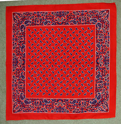 100% Cotton Bandana Handkerchief Neckerchief - Red Paisley