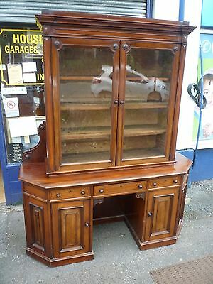 Fantastic Victorian Solid Mahogany Glazed Bookcase With Desk Under