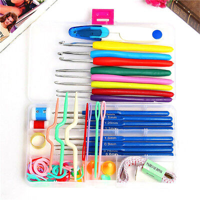 57pcs Crochet Hooks Kit Yarn Knitting Needles Sewing Tool Ergonomic Grip Bag Set