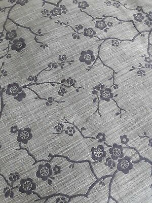 Large piece end roll vintage 60s 70s bark cloth mid century floral fabric