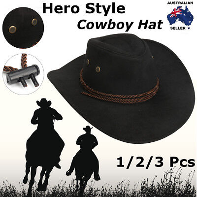 Hero Style Retro Black Western Cowboy Cowgirl Hat Men Women Riding Cap Wide Brim