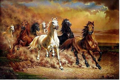 """ZWPT387 abstract modern % hand-painted roar ''horses"""" oil painting on canvas"""