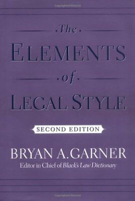 The Elements of Legal Style,HC,Bryan A. Garner - NEW