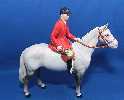 Beswick Horse Huntsman and Rider Style 2 Standing On Grey Horse Model 1501