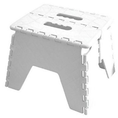 Small Folding Step Stool Chair Seat Heavy Duty Home Kitchen Garage Fixings White