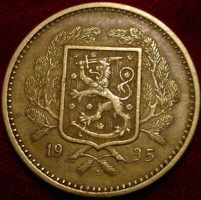Only 250,000 Minted Scarce 1935 Large 20 Pennia Finland**nice Detailed Coin****