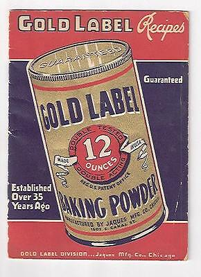 1930s Advertising Cookbook Gold Label Baking Powder Recipes Jacques Mfg Chicago