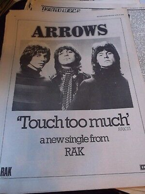 ARROWS  TOUCH TOO MUCH 1 page advert rare
