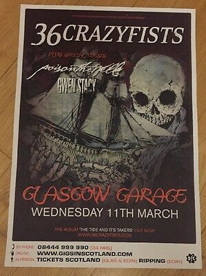 36 Crazyfists - Rare Concert/gig poster, March 2009, Glasgow