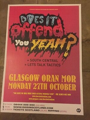 Does It Offend You Yeah? - Rare Concert/gig poster, Oct 2008, Glasgow