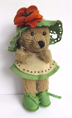Unusual Antique Vintage Small  Dressed Teddy Bear With Edith Moody Label